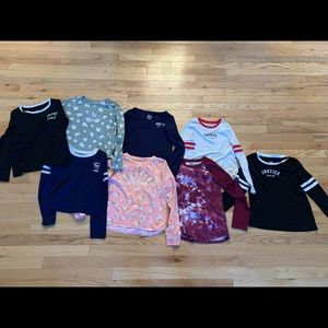 Girls justice shirt lot.  All size 8 except very right black shirt is size 10.